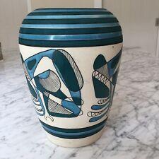 Grand Vase Céramique Design Décor 50 Email Noir Bleu Signature à identifier