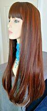 Long straight medium/light brown wig, blonde highlights, skin part, 24 in.