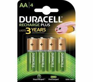 4 x Duracell Recharge Plus AA Batteries 1300MaH NiMH HR6/DC1500
