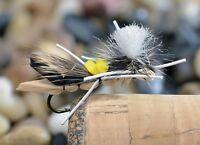 1 Doz Foam Hopper Terrestrial Yellow & Tan Dry Fishing Fly - Hook size #10
