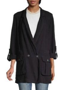 Free People Charly Blazer NWT$168 Size M Dark Blue/Black