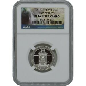 2010-S Hot Springs Proof Silver Quarter NGC PF70 Ultra Cameo Park Label