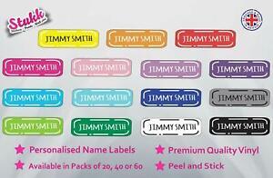 Personalised Name Labels Stick On Kids School Tags Waterproof Vinyl Stickers
