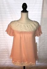 Iris Los Angles Off The Shoulder Top, Size Small, Light Peach, Lace Top