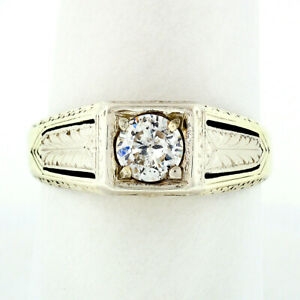 Antique Art Deco Men's Hand Engraved 14k Gold .75ct Round Diamond Solitaire Ring