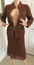 Vtg 1960's Two 2 Piece Set Brown Crochet Knit Flower Buds Jacket & Skirt Xs/S