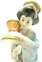 VINTAGE 1970s GEISHA GIRL FIGURINE HAND PAINTED BISQUE PORCELAIN MADE IN KOREA