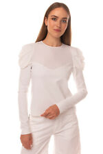 RRP €190 PINKO Top Blouse Size 40 White Silk Blend Puff Shoulders Made in Italy