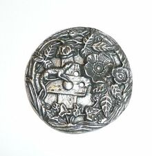 """Pewter Finish Ant Repro Flowers & Lizard Metal Button - Sew Down Button 1-1/2"""""""