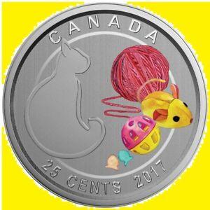 * Canada 25 cent 2017 Love My Cat * Coloured * Steel + Cu-Ni * Mint Pack