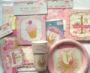 1st Birthday Girl Pink & Gold Tableware Range Party Celebrations Birthday Girl