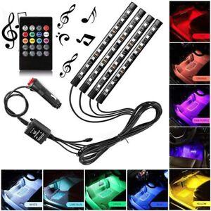 36LED RGB Car Interior LED Strip Lights Wireless Remote Control Music 12V