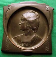 Original c1900 Unmarked Copper WMF Art Nouveau Maiden Beauty Card Tray Plaque B