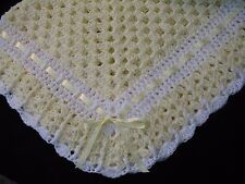 Hand-Crochet Yellow & White Square Baby Blanket Afghan