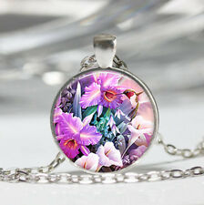 Orchid photo Tibet silver Dome Glass Cabochon Necklace chain Pendant #344
