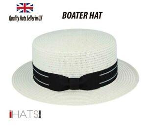 Mens Summer Boater Hat Straw Sailor Skimmer Quality Sun hat - iHATS London UK