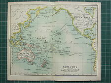 1904 SMALL MAP ~ OCEANIA & PACIFIC OCEAN ~ AUSTRALIA POLYNESIA HAWAII FIJI