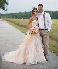 2016 Weiß/Champagner Brautkleid Hochzeitskleid Abendkleid Ballkleid 36 38 40-46*