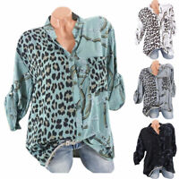 Plus Size Women Leopard Roll Tab Sleeve Shirts Loose Baggy Casual Blouse Tee Top