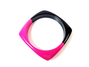 CHUNKY ABSTRACT UNIQUE STATEMENT BLACK PINK BANGLE UNIQUE BOLD SUMMER WEAR (B3)