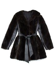 *Vintage Mink Coat With Leather Panels and Tie Belt, SIZE XS