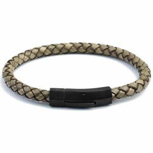 "DG Men Stainless Steel Black Braided Magnetic Leather Bracelet Fashion 7.5-8.5"""