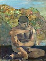 "Nude Male Man Art Figure Original Oil Painting, 18""x24"" Signed Gay Interest"