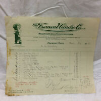 Vintage 1919 Bill Receipt The Fremont Candy Co. Fremont Ohio Letterhead