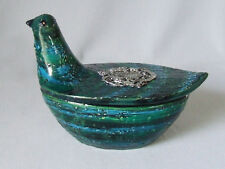 Bitossi for Rosenthal Netter Italian Pottery Blue Ceramic Bird Covered Box Bowl