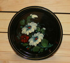 Vintage Russian hand painted floral metal tole plate dish