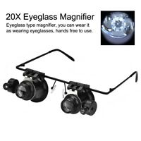 20X Lens Magnifier Magnifying Eye Glass Loupe Jewelry Watch Repair Tool with LED