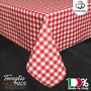 TOVAGLIA SCOZZESE QUADRETTI ROSSO - 2 4 6 8 12 16 POSTI - COTONE - MADE IN ITALY