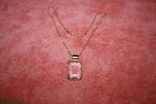 "Vintage Cut Glass Jewel Shaped Pendant Necklace 18"" Chain marked 18KGP"