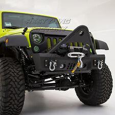 Stubby Stinger Front Bumper w/OE Fog Light Hole-Black fit 07-17 Jeep JK Wrangler