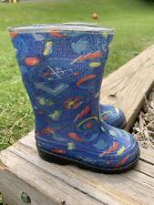 Baby Kids Toddler Boys Blue Rain Boots - Size 5 EEUC