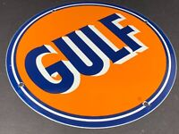 "VINTAGE GULF GASOLINE AND MOTOR OIL PORCELAIN 12"" PUMP PLATE METAL GAS OIL SIGN"