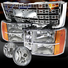 07-12 Sierra 1500 Euro Chrome Headlights+Bumper Fog Lamps+Honeycomb Grille