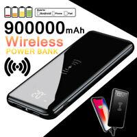 Wireless Power Bank 900000mAh Polymer External Backup Battery 2USB Charger