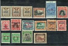 NIUE / PENRHYN ISLAND - STOCK CARD OF 16 GOOD / FINE MINT STAMPS