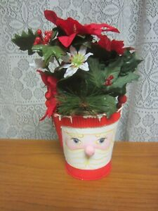 "Hand Painted Metal Pail With Wood Beaded Handle & Floral Arrangement ""Santa"""