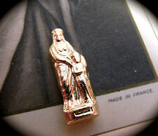 Vintage French Religious Pocket Shrine Statue 22K Gold Plate Virgin Mary & Baby