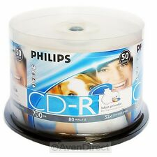 50 Philips 52X White Inkjet Printable Logo on Hub CD-R [FREE USPS Priority Mail]