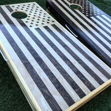 Inverse Stained American Flag Cornhole Board Set