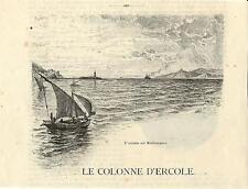 Stampa antica GIBILTERRA GIBRALTAR Colonne Ercole 1892 Old Print Grabado Antiguo