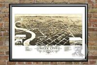 Old Map of Miles City, MT from 1883 - Vintage Montana Art, Historic Decor