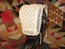 Antique Hand Made Crochet Lace Baby -Doll Bear- Bonnet Cap-Popcorn Stitch