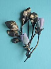 Vintage LAVENDER PURPLE PORCELAIN ROSE BRASS LEAF BROOCH Pin Glass Flower Estate