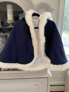 Hooded reversible Toddler Satin Faux Fur Cape
