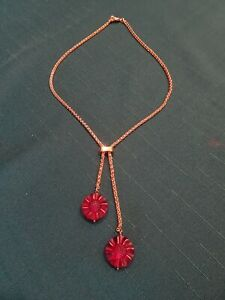 LALIQUE FLEUR RED FROSTED GOLD LARIAT NECKLACE, FRANCE
