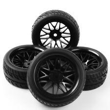 4X Set Rubber Tire Rims For HSP HPI RC 1:10Flat Racing On Road Car PP0150+BBNK